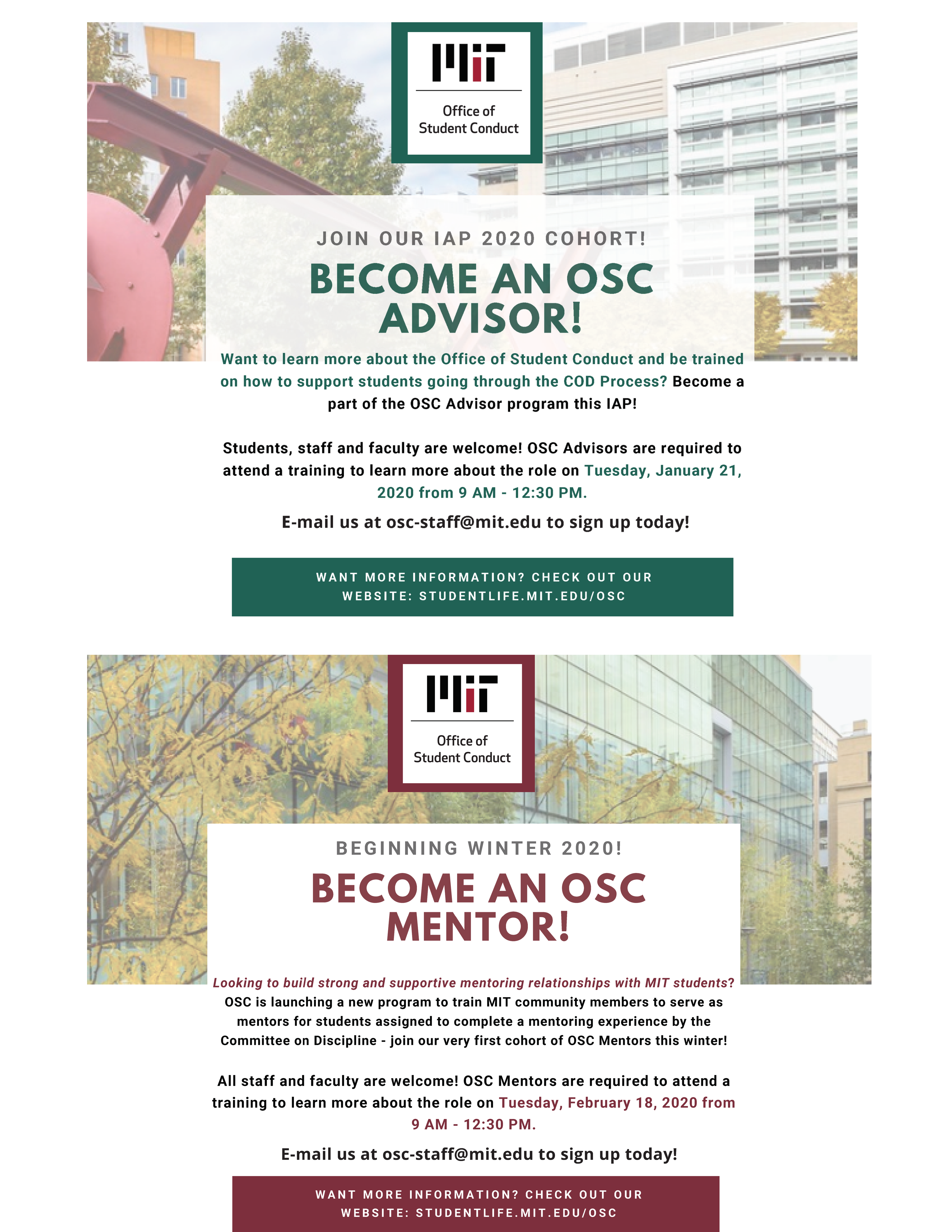 Flyer announcing upcoming OSC Advisor and OSC Mentor training sessions in January and February 2020. Email osc-staff@mit.edu for more details.