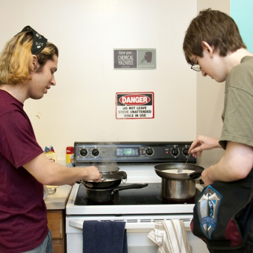 Students cooking at Burton Conner
