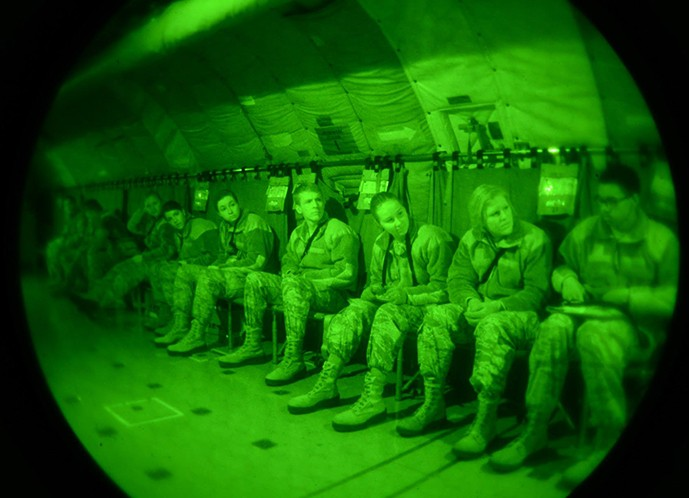 Alex Knoedler, center, and fellow MIT AFROTC cadets, seen through a night vision device.