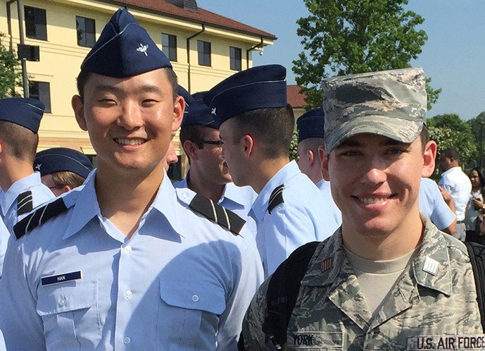 MIT AFROTC cadets Joseph Han and Martin York.