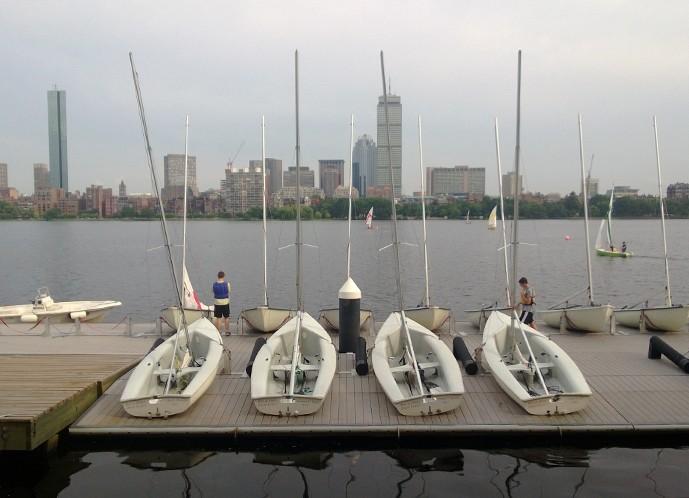 MIT's Sailing Pavilion, overlooking the Boston skyline.