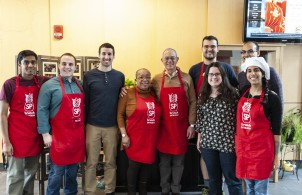 President L. Rafael Reif and Senior Associate Dean of Graduate Education Blanche Staton help Sidney-Pacific students cook and serve Sunday brunch