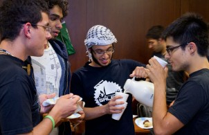 Students from the MIT Arab Student Association host a study break in Maseeh Hall to raise awareness of Arab culture.
