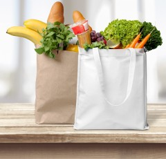 Grocery bags with food