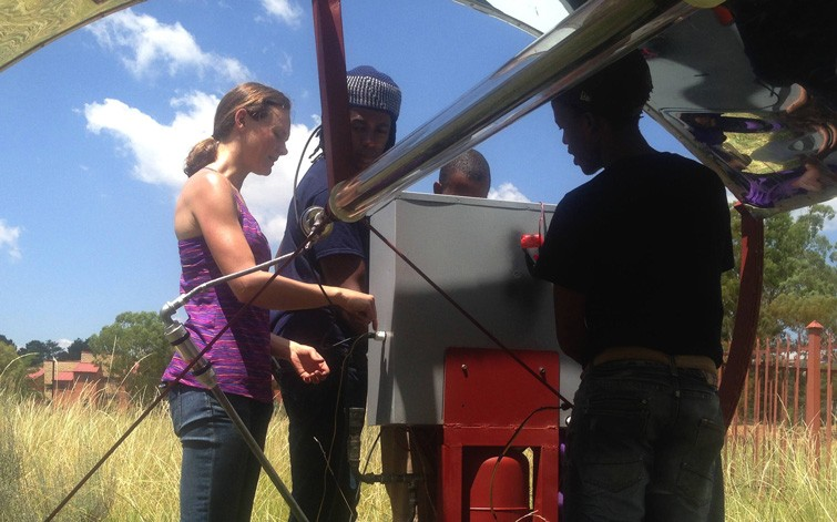 Amy Mueller '02, PhD '12, 2005 Winner, STG International, Lesotho. Amy trains technicians to maintain their hybrid solar energy system.