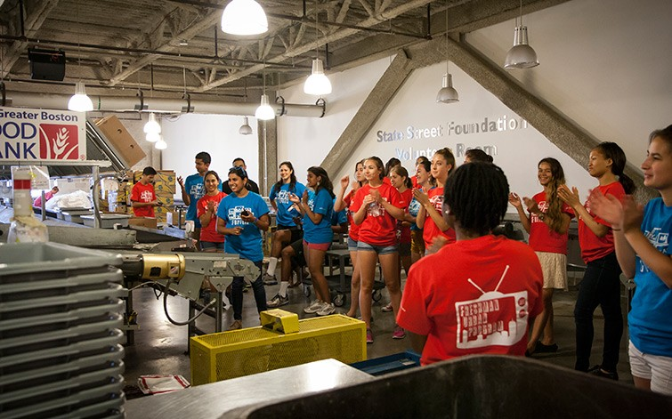 Incoming freshmen volunteer at Greater Boston Food Bank.