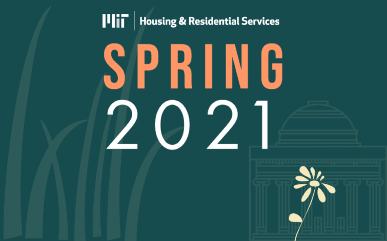 """Image saying """"Spring 2021"""" with the Housing & Residential Services logo and drawing of grass, flower and the Institute."""