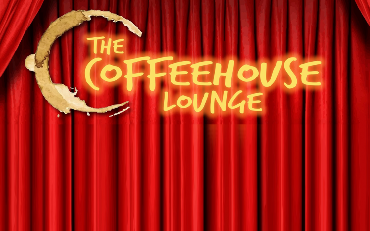 "pic announcing ""The Coffeehouse Lounge"" with red velvet curtains"